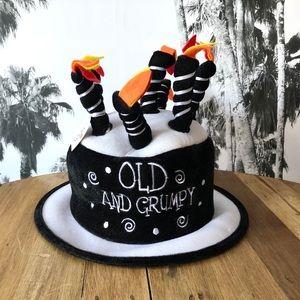 Fun! OLD & GRUMPY Cloth re-usable Birthday Hat